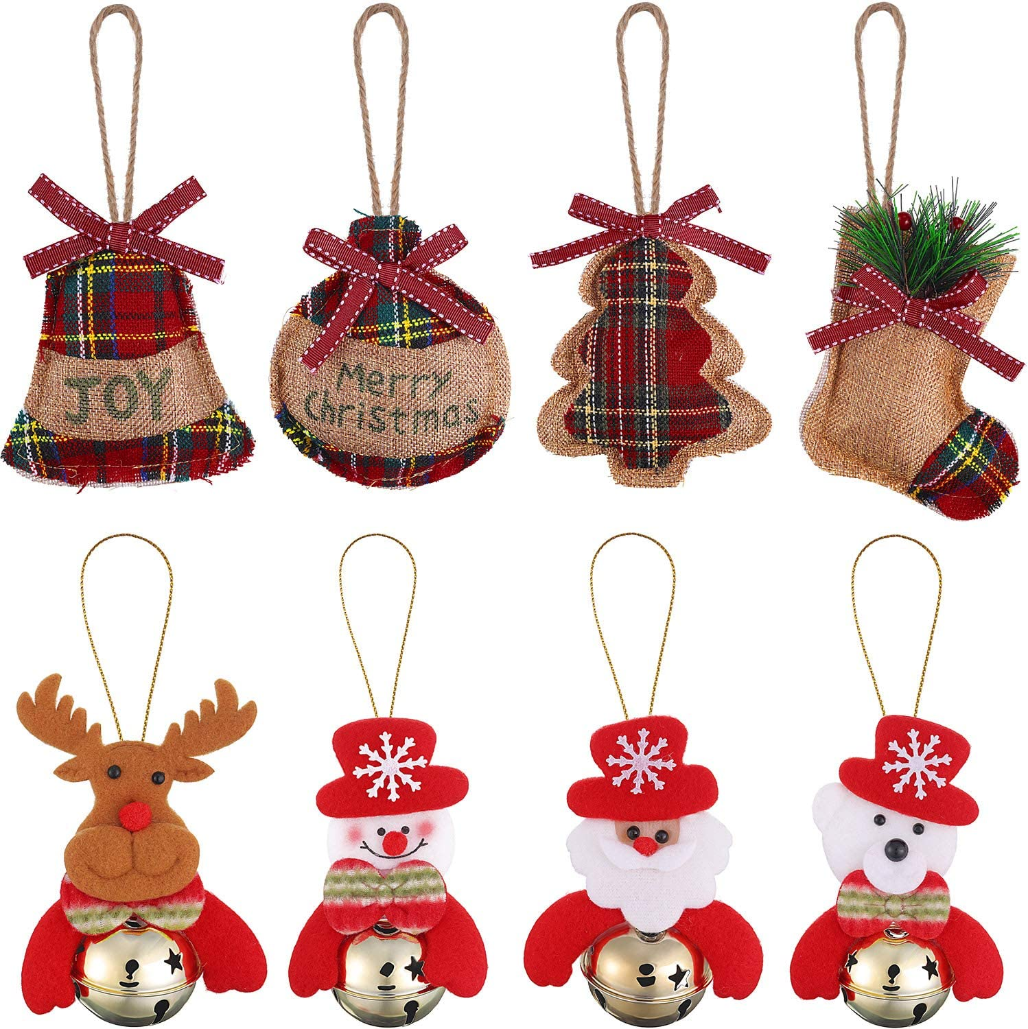Gejoy 8 Pieces Burlap Hanging Christmas Tree Ornaments Set Christmas Bells Decorations for Home, Snowman/ Santa Claus/ Bear/ Elk/ Christmas Stocking/ Christmas Tree/ Ball/ Bell
