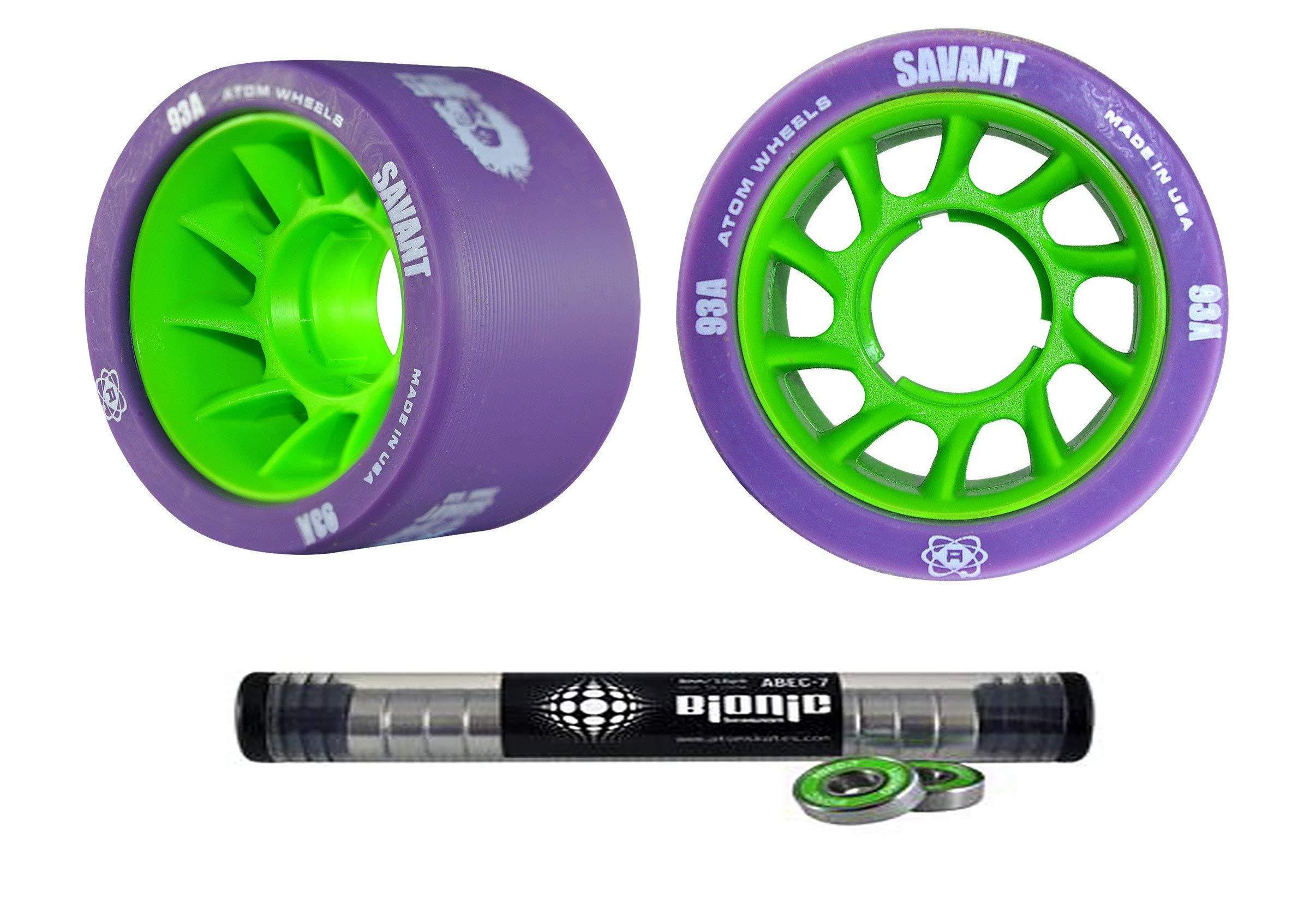 Atom Savant Skate Wheels with Bionic Bearings 8mm Full Set of 8 Purple 93A by Atom Skates