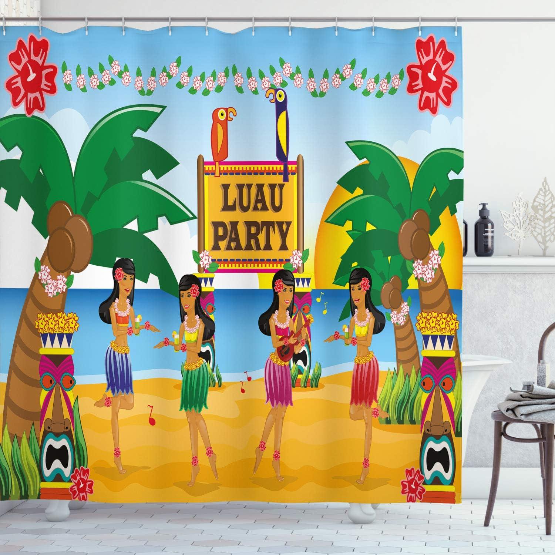 "Ambesonne Tiki Bar Shower Curtain, Hawaiian Luau Party in Funny Cartoon Style Dancers on Beach Tradition, Cloth Fabric Bathroom Decor Set with Hooks, 70"" Long, Blue Green"