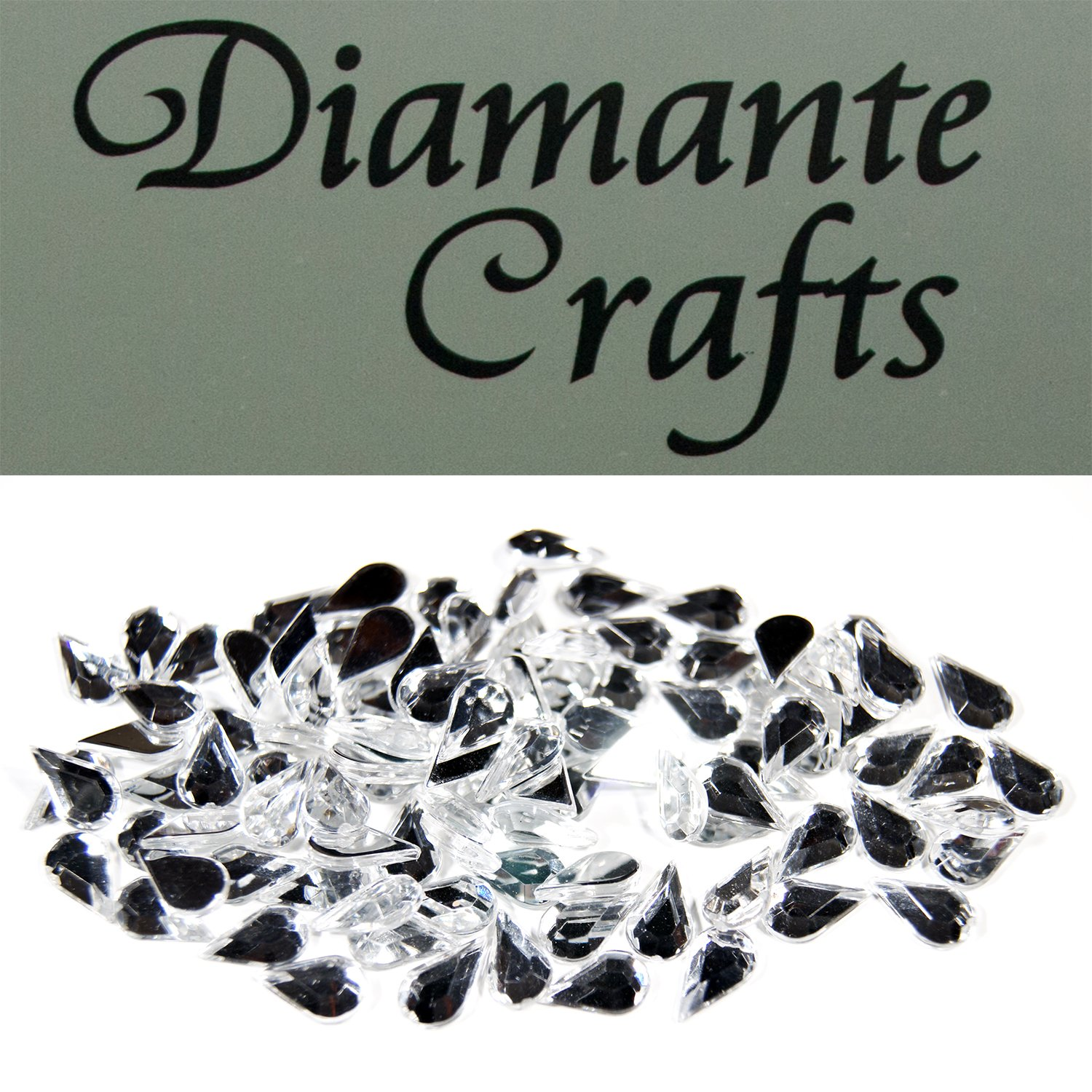 150 x 10mm Clear Teardrops Diamante Loose Flat Back Rhinestone Vajazzle Body Gems - created exclusively for Diamante Crafts
