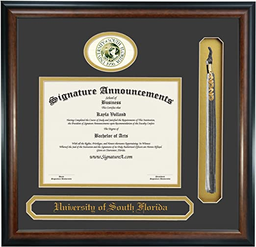 Campus Images NCAA South Florida Bulls Tassel Box and Diploma Frame
