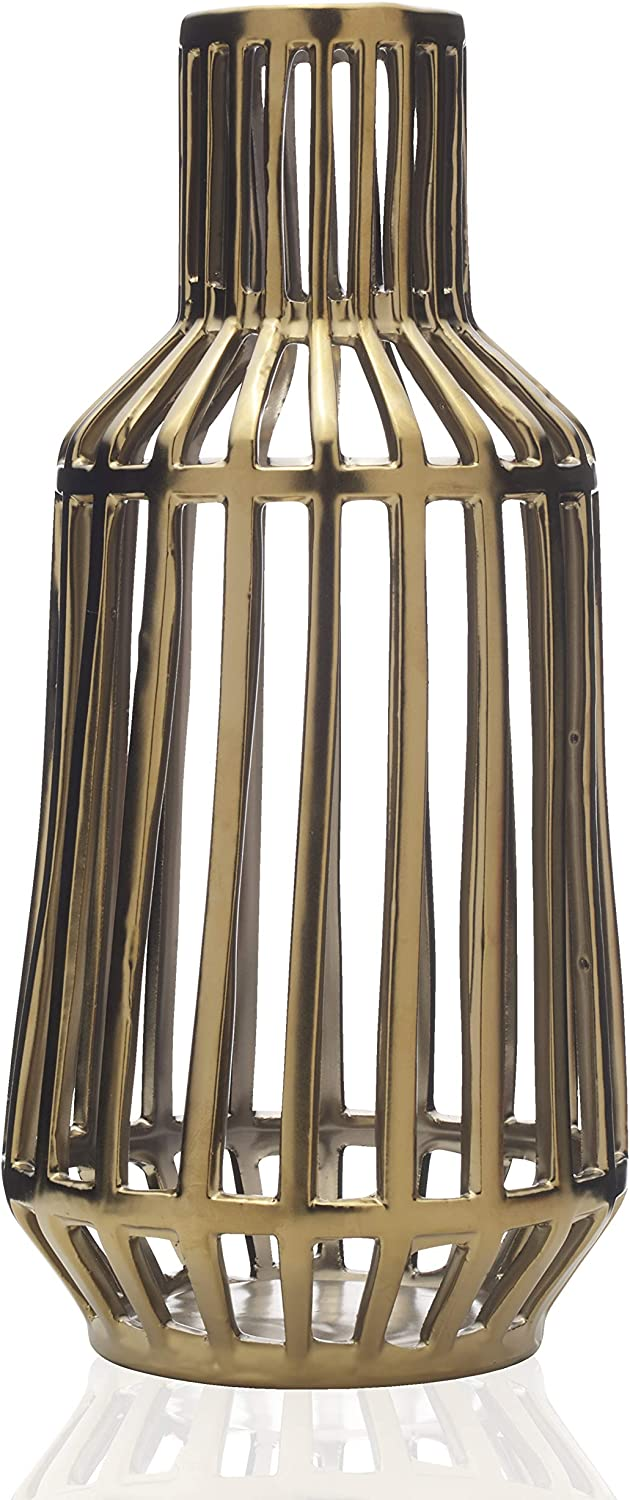 Gold 9-Inch Scott Living Luxe Ceramic Marble Candle Holder