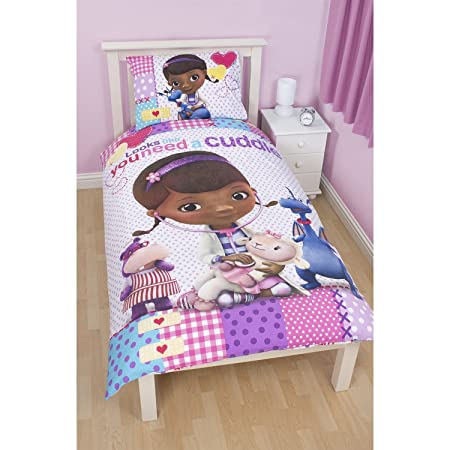 Disney Doc McStuffins Childrens Girls Patch Reversible Duvet Cover Bedding Set Single Bed