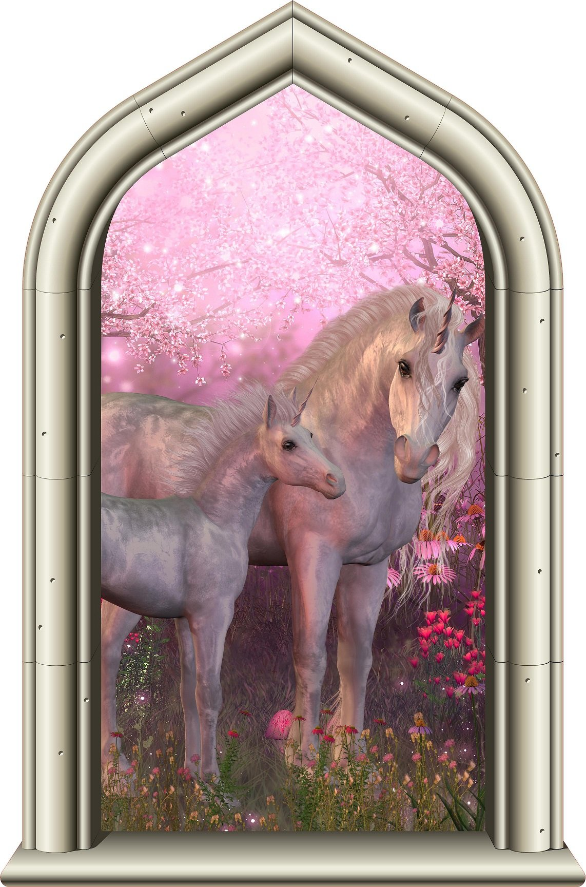 24'' Castle Window Princess Instant View UNICORN and BABY FOAL #1 Wall Decal Kids Room Sticker Home Office Art Décor Den Man Cave Mural Graphic SMALL