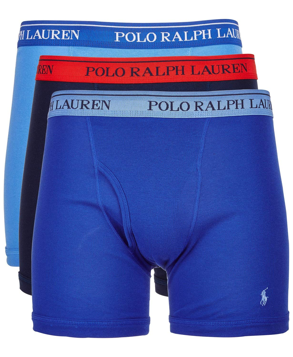 Polo Ralph Lauren Classic Fit Boxer Briefs with Moisture Wicking, 100% Cotton - 3 Pack (L, Aerial Blue)