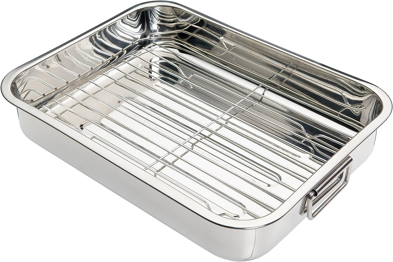 Kitchen Craft - Fuente de horno rectangular con rejilla (acero inoxidable), color plateado, 37 x 28 x 6,5 cm
