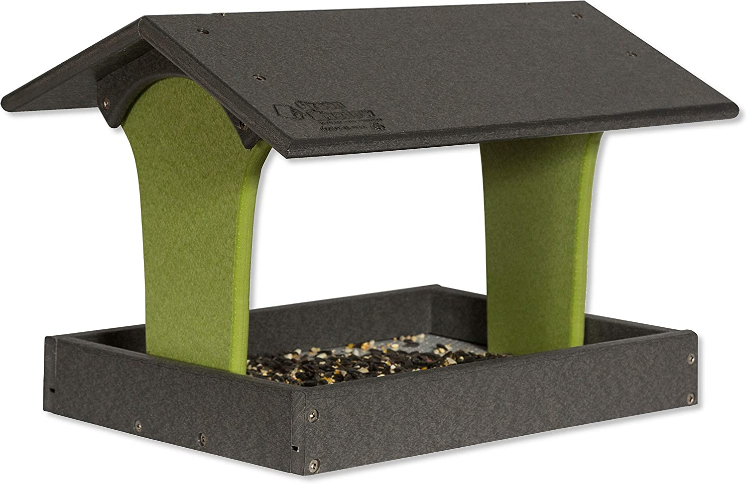 DutchCrafters Fly-by Poly Bird Feeder (Gray & Lime, Mount Style - Hanging)