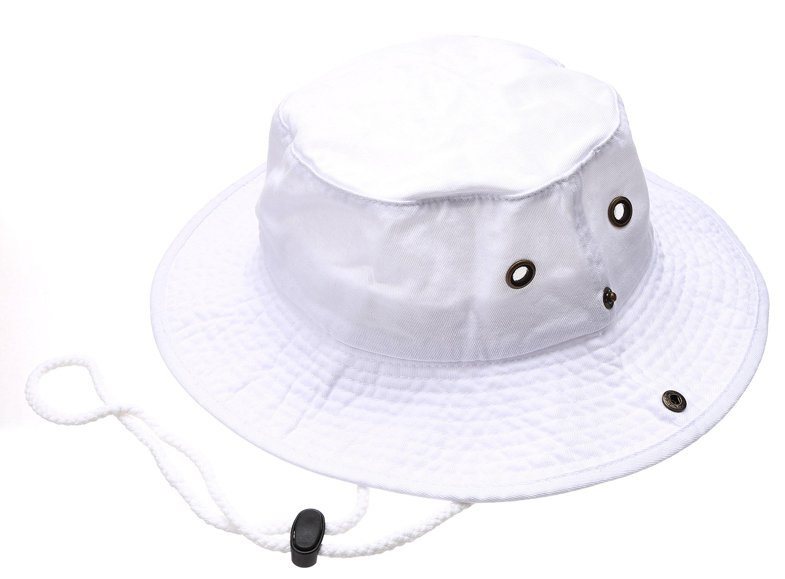 MIRMARU Summer Outdoor boonie Hunting Fishing Safari Bucket Sun Hat With Adjustable Strap(White,LXL)