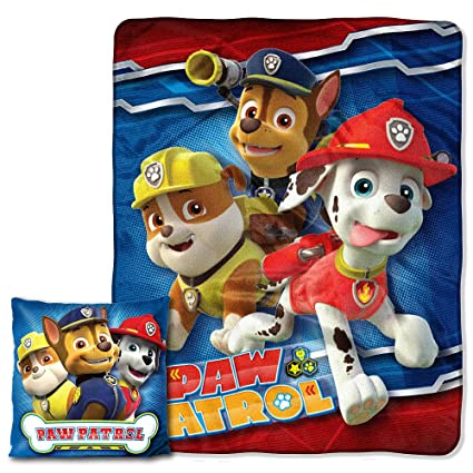 59fe97bbae6a Amazon.com  Disney s Paw Patrol Pals Pillow and Throw 2 pieces Blanket Set   Home   Kitchen