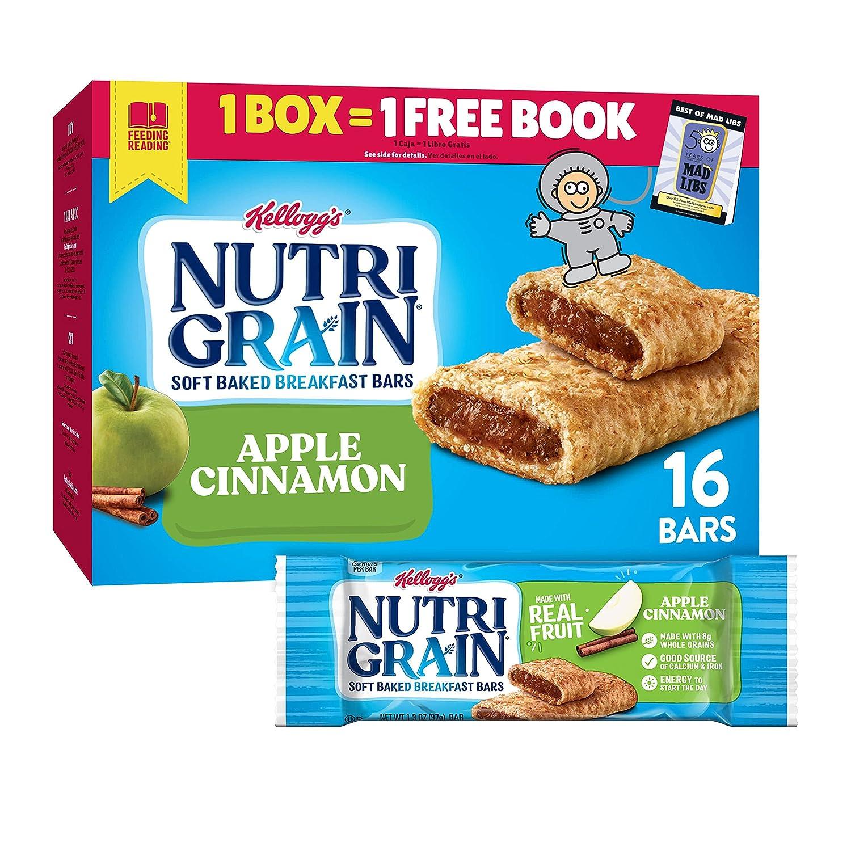 Kellogg's Nutri-Grain, Soft Baked Breakfast Bars, Apple Cinnamon, Made with Whole Grain, Value Pack, 20.8 oz (16 Bars)
