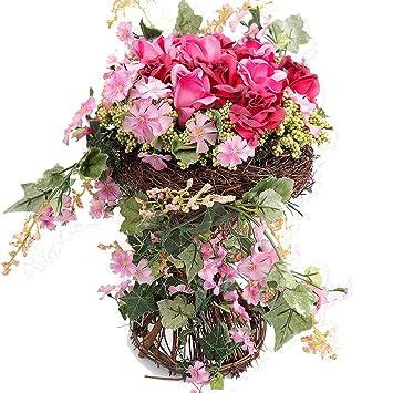 Amazon rerxn pastoral artificial rose in rattan basket silk rerxn pastoral artificial rose in rattan basket silk flower arrangement centerpiece home wedding decor red mightylinksfo