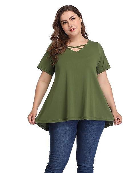 862212b2d4f Shiaili Plus Size Hi Low Tops Draped Flowy Tees Criss Cross T Shirts for  Women