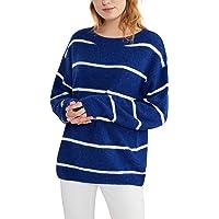 Woolen Bloom Jersey Punto Mujer Suéter Suelto Bloque de Color Informal Camisa Cuello Redondo Rayas Ligeras Manga Larga…