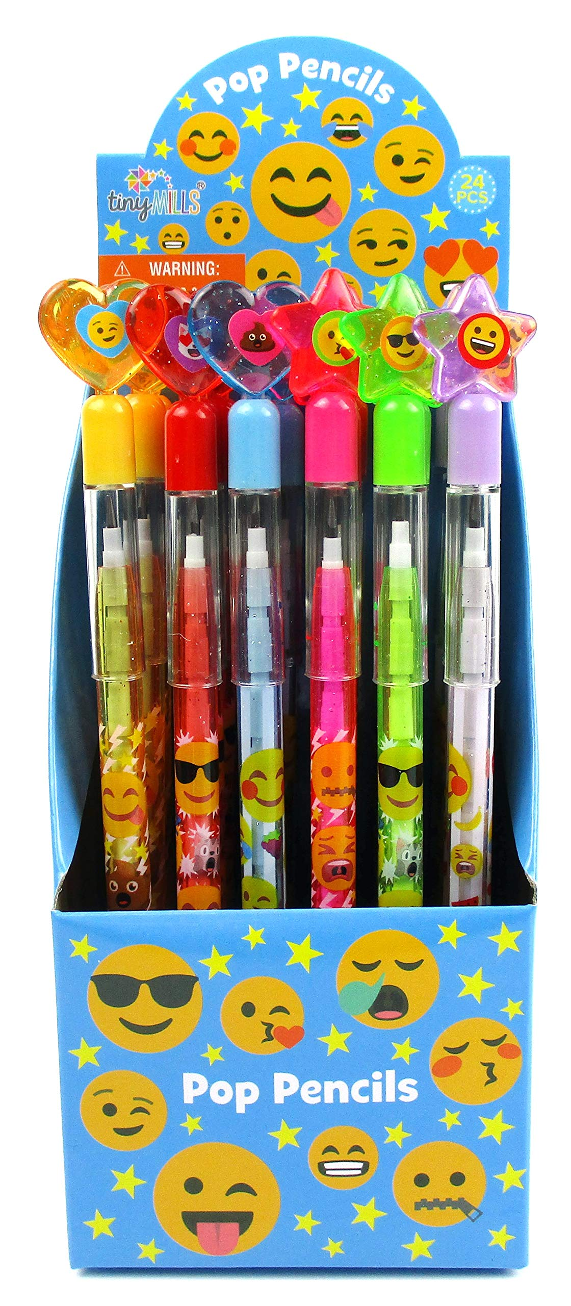 TINYMILLS 24 Pcs Emoji Multi Point Pencils by Tiny Mills