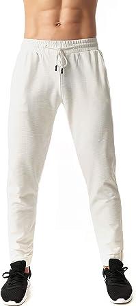 Icon Pantalones de chándal de algodón de bambú con cordón elástico Suave para Hombre - Pantalones de Correr cómodos - Blanco - Medium: Amazon.es: Ropa y accesorios