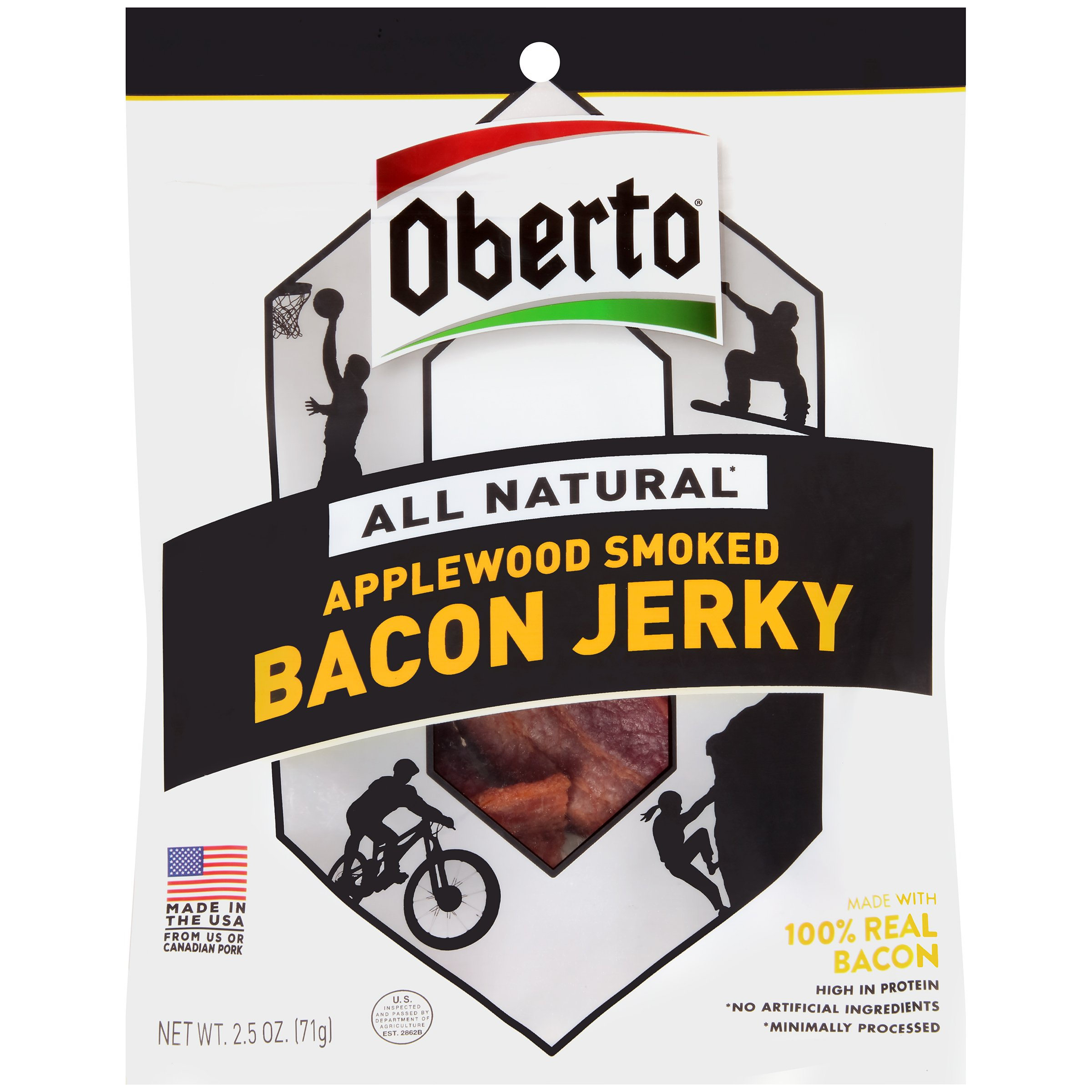 Oberto All Natural Applewood Smoked Bacon Jerky, 2.5-Ounce Bag, 8-Count