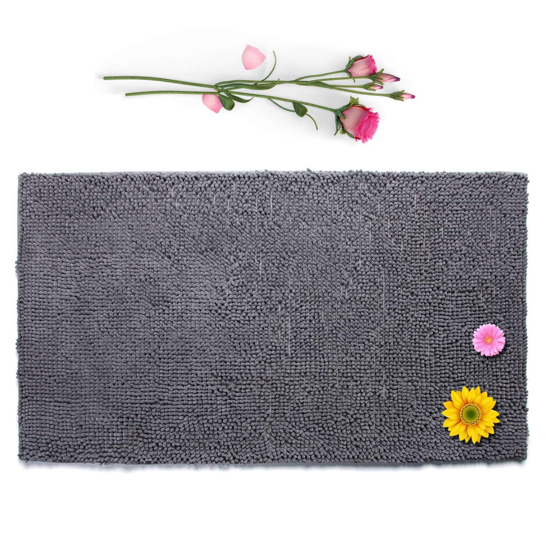 Vdomus Non-Slip Bathroom Rug Long Floor Chenille Mat Upgraded Soft Absorbent Microfiber Shag Machine-Washable 26x47'' (Grey)