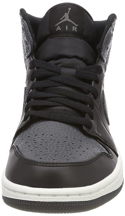 Amazon.com   Jordan Mens AIR Jordan 1 MID Black Dark Grey Summit White Size 12   Basketball