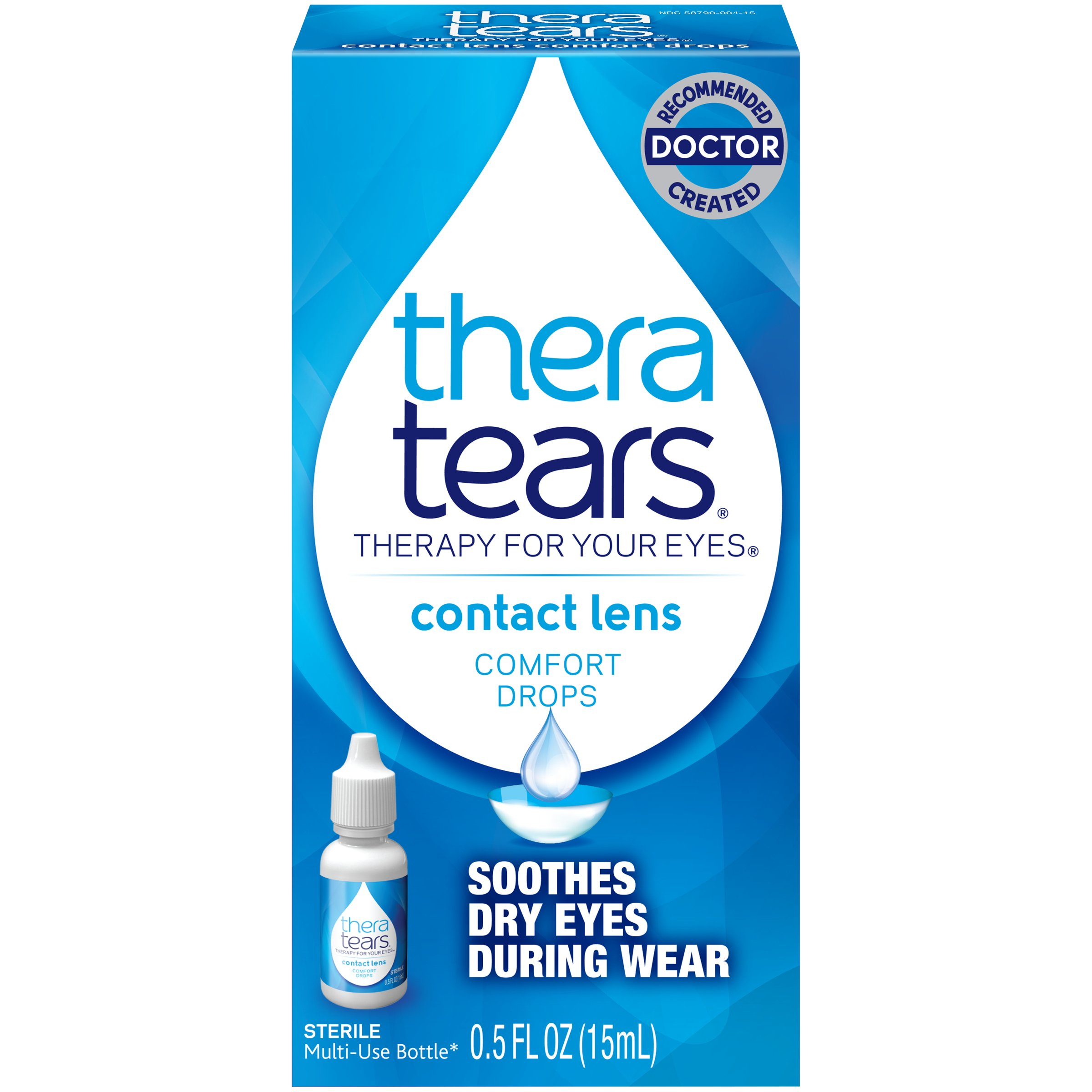 TheraTears Eye Drops for Contacts, Contact Lens Comfort Rewetting Eyedrops for Dry Eyes, 0.5 Fl oz, 15 mL