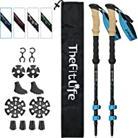 TheFitLife Carbon Fiber Trekking Poles – Collapsible and Telescopic Walking Sticks with Natural Cork Handle and Extended EVA Grips, Ultralight Nordic Hiking Poles for Backpacking Camping