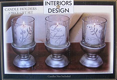 Amazoncom Interiors By Design Candle Holders 3 Piece Gift Set