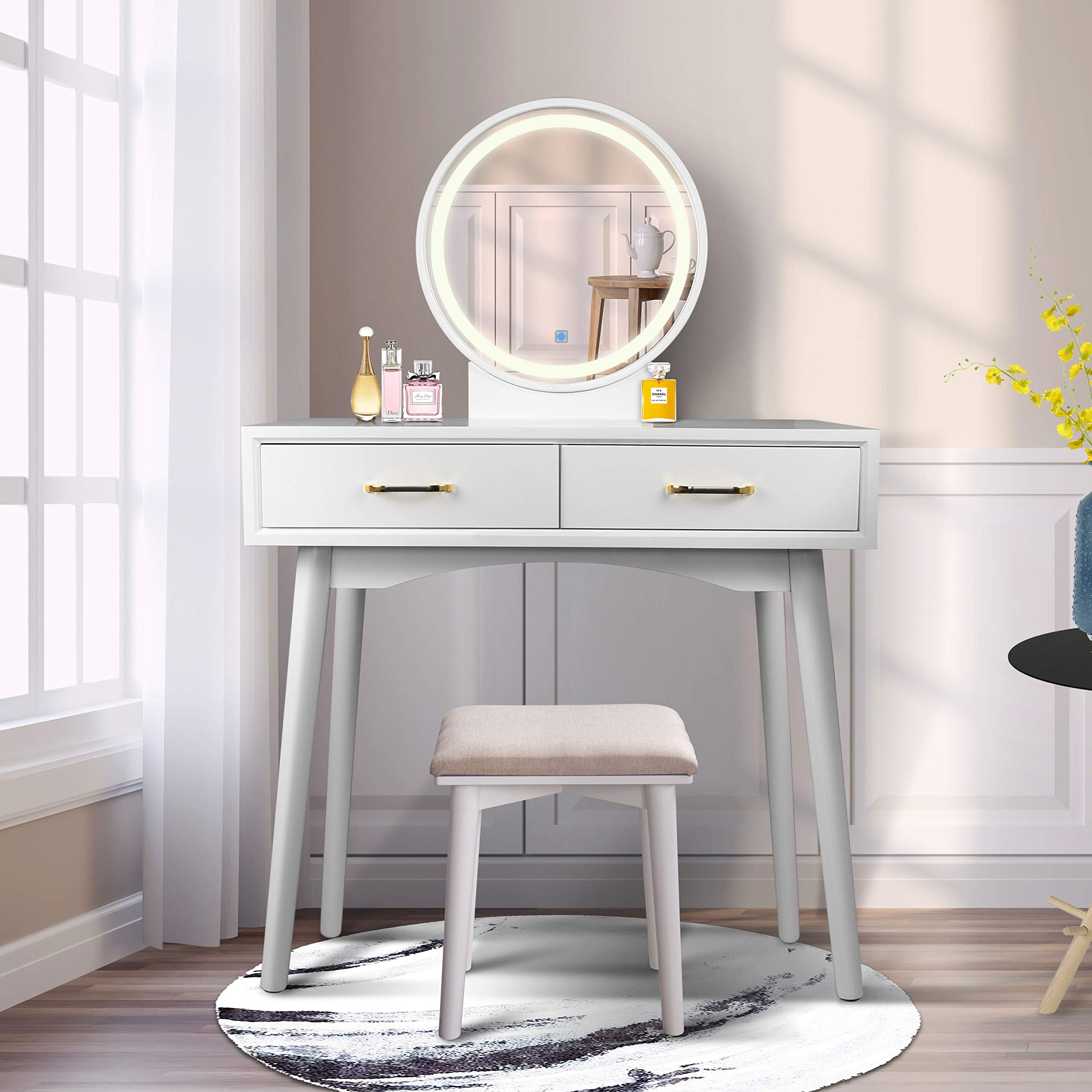 Vanity Table Set with Lighted LED Touch Screen Dimming Round Mirror,Makeup Dressing Table with 2 Sliding Drawers, 1 Cushioned Stool for Bedroom, Bathroom (White) by FUNKOCO