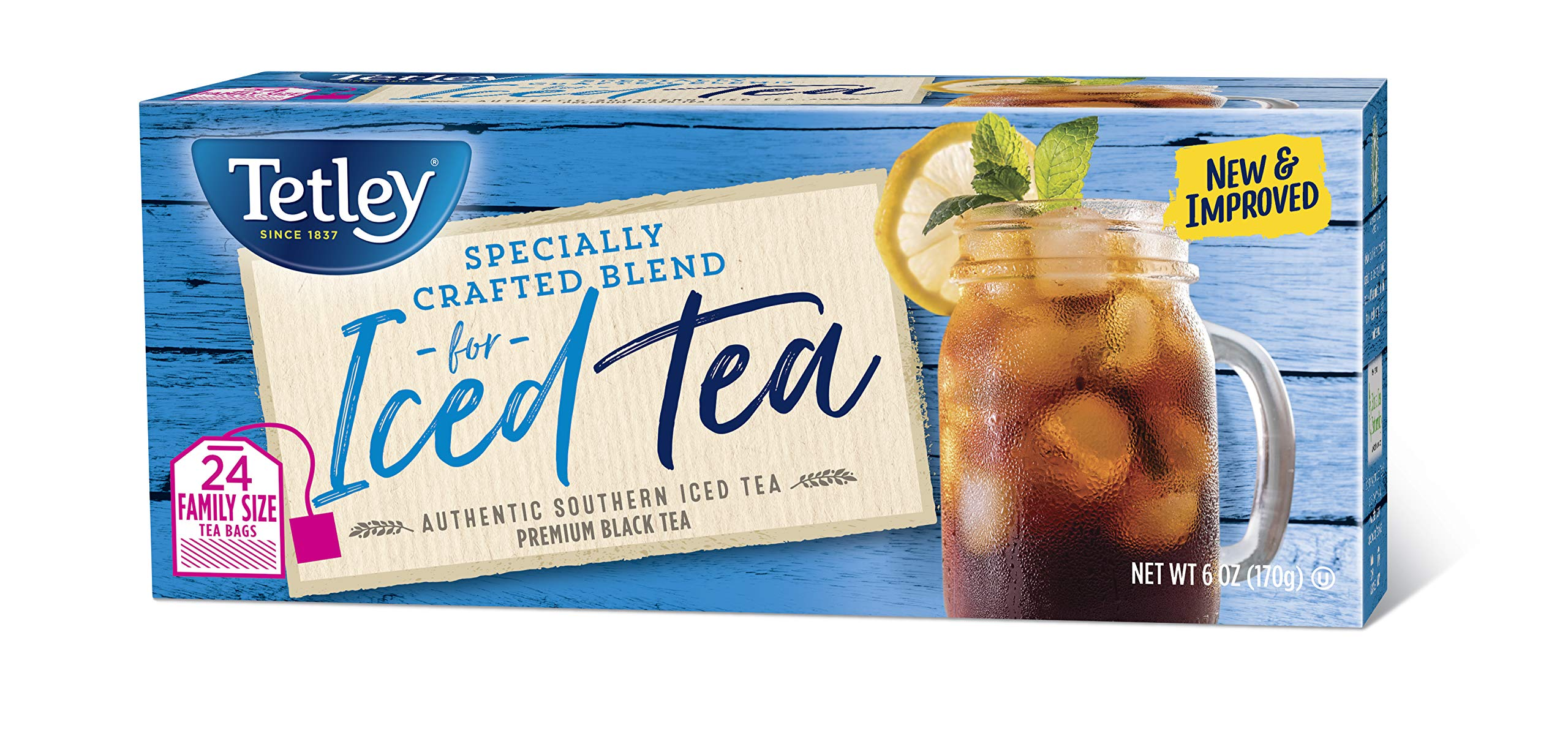 Tetley Black Tea, Iced Tea Blend, Family Size, 24 Square Tea Bags (Pack of 6)