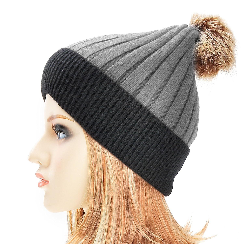 ZLYC Womens Winter Warm Two-Tone Ribbed Knit Cuff Beanie Hat with Faux Fur Pom Pom