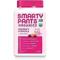 Daily Organic Gummy Women's Multivitamin: Probiotic, Vitamin C, D3 & Zinc for Immunity, Biotin for Hair & Skin, Omega 3 Fish Oil, B6, Selenium, Methyl B12 by SmartyPants (120 Count, 30 Day Supply)