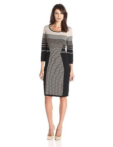Calvin Klein Women's Long-Sleeve Mixed Stripe Dress