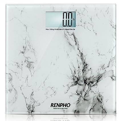iDOO Báscula de Baño Digital Capacidad: 440lb / 200kg [ Mármol blanco ]