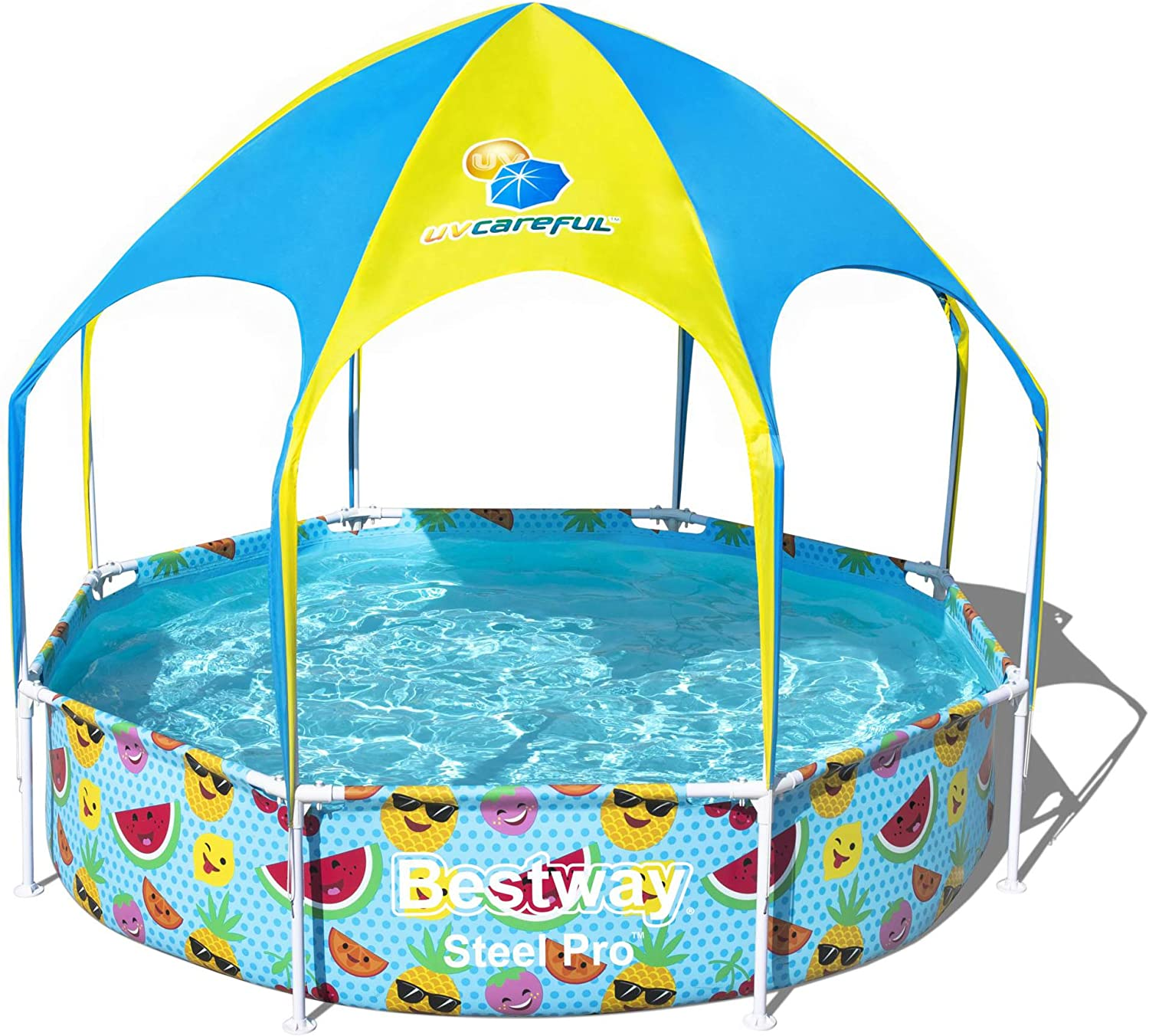 Bestway Steel Pro UV Careful - Piscina con Marco de Acero sin Bomba con Techo Protector Solar Splash-in-Shade 244 x 51 cm: Amazon.es: Jardín