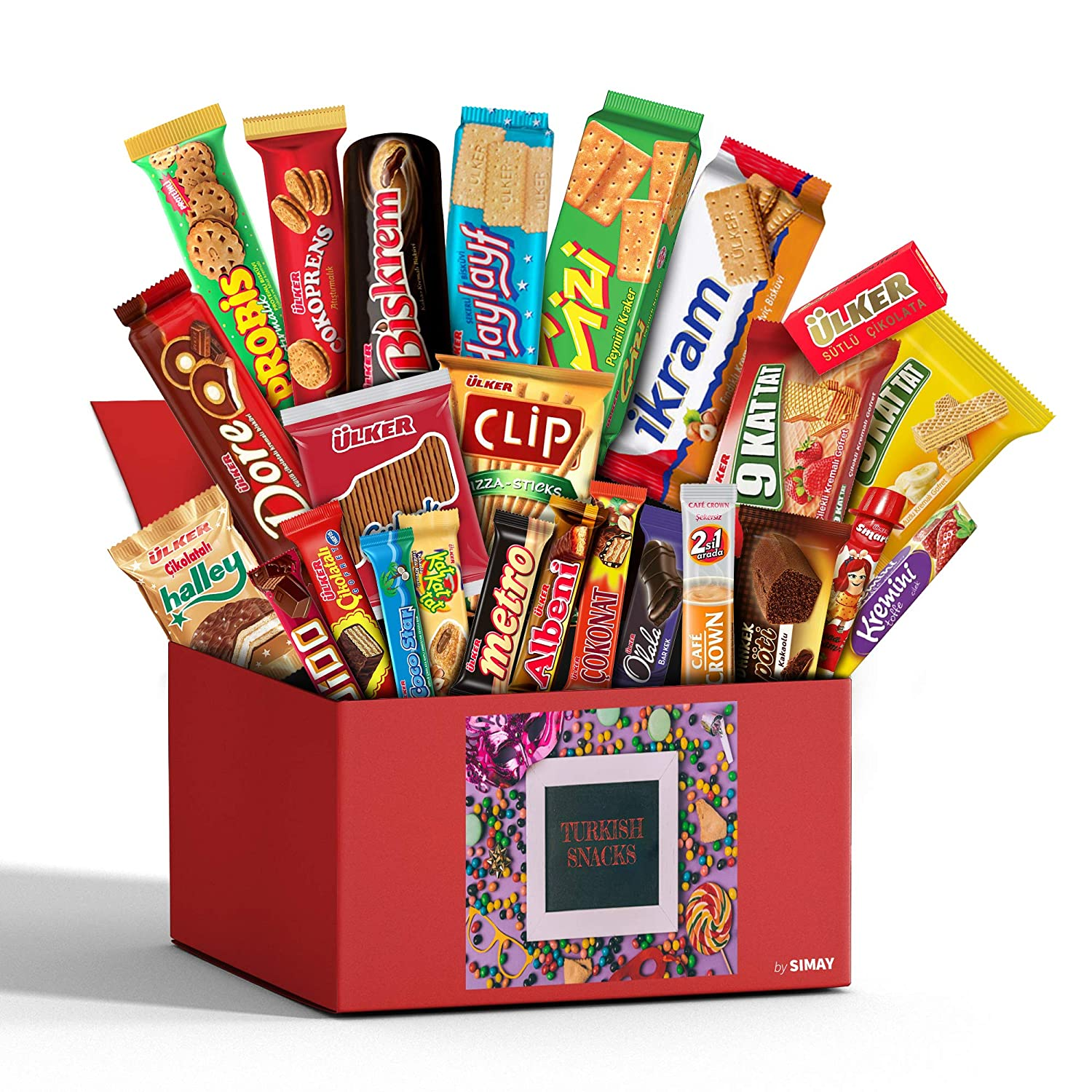 Large Turkish Foreign Snacks Box, European Chocolates, Candy, Cookies, 25 Count Variety International Snacks, Foreign Candy Gift Box, Healthy Snack Box from Around the World 2.9 lb.