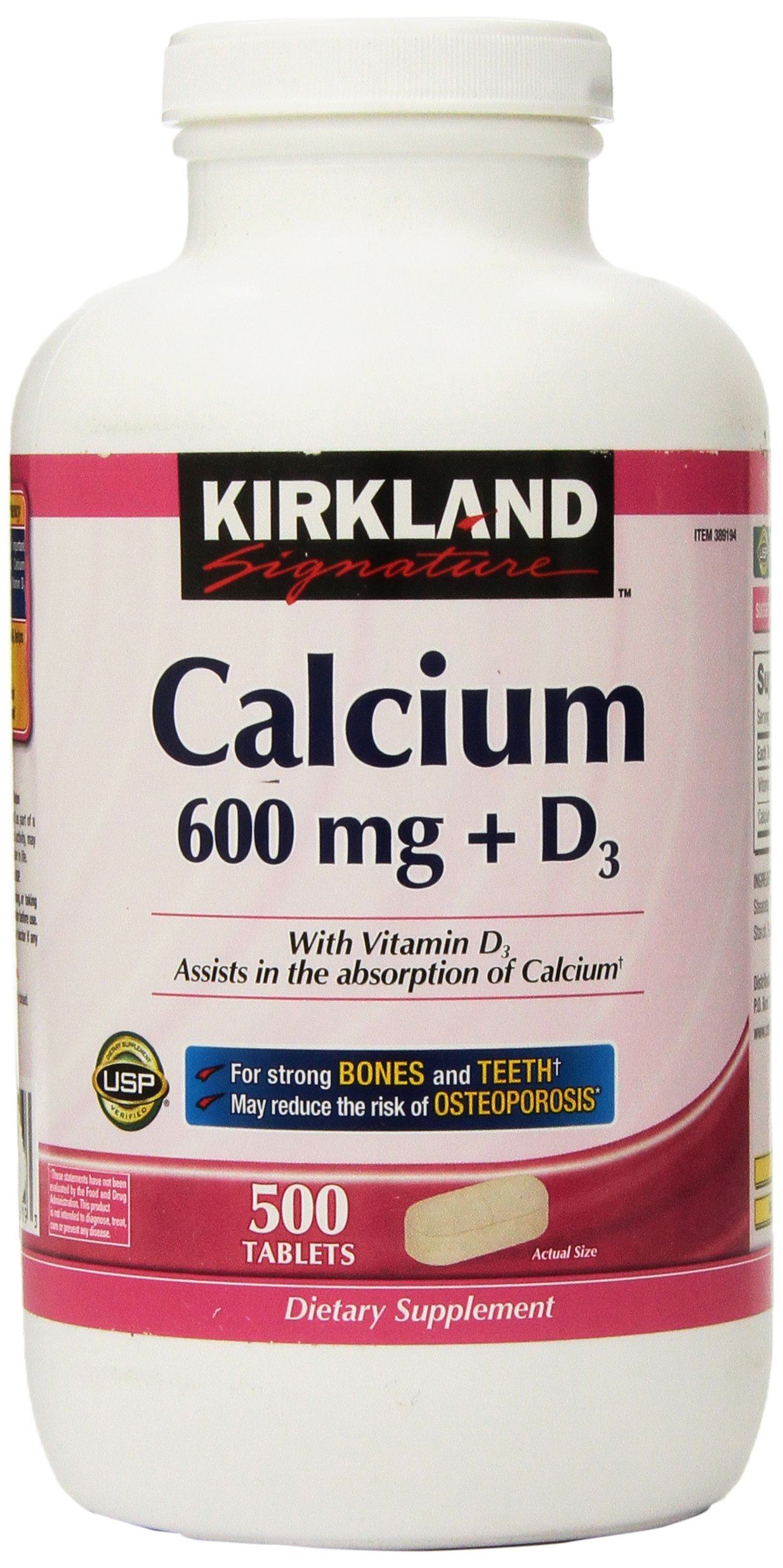 Kirkland Signature Calcium, 600 mg+D3, 500-Count Tablets