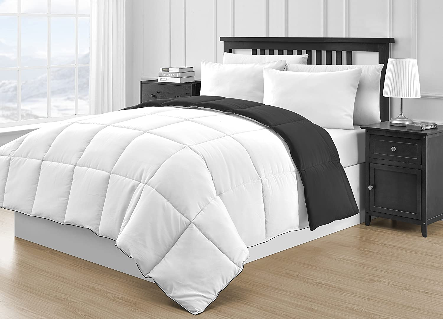 P&R Bedding Reversible Microfiber Black & White 3-Piece Comforter Set