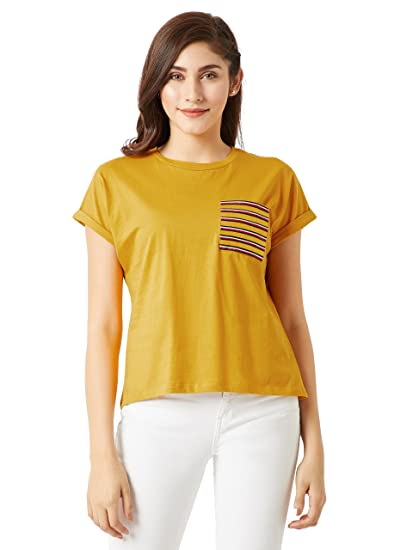 7b5ba3a39db Miss Chase Women s Plain Top (MCSS18TS01-20-183-02 Mustard Yellow XS). Roll  over image to zoom in