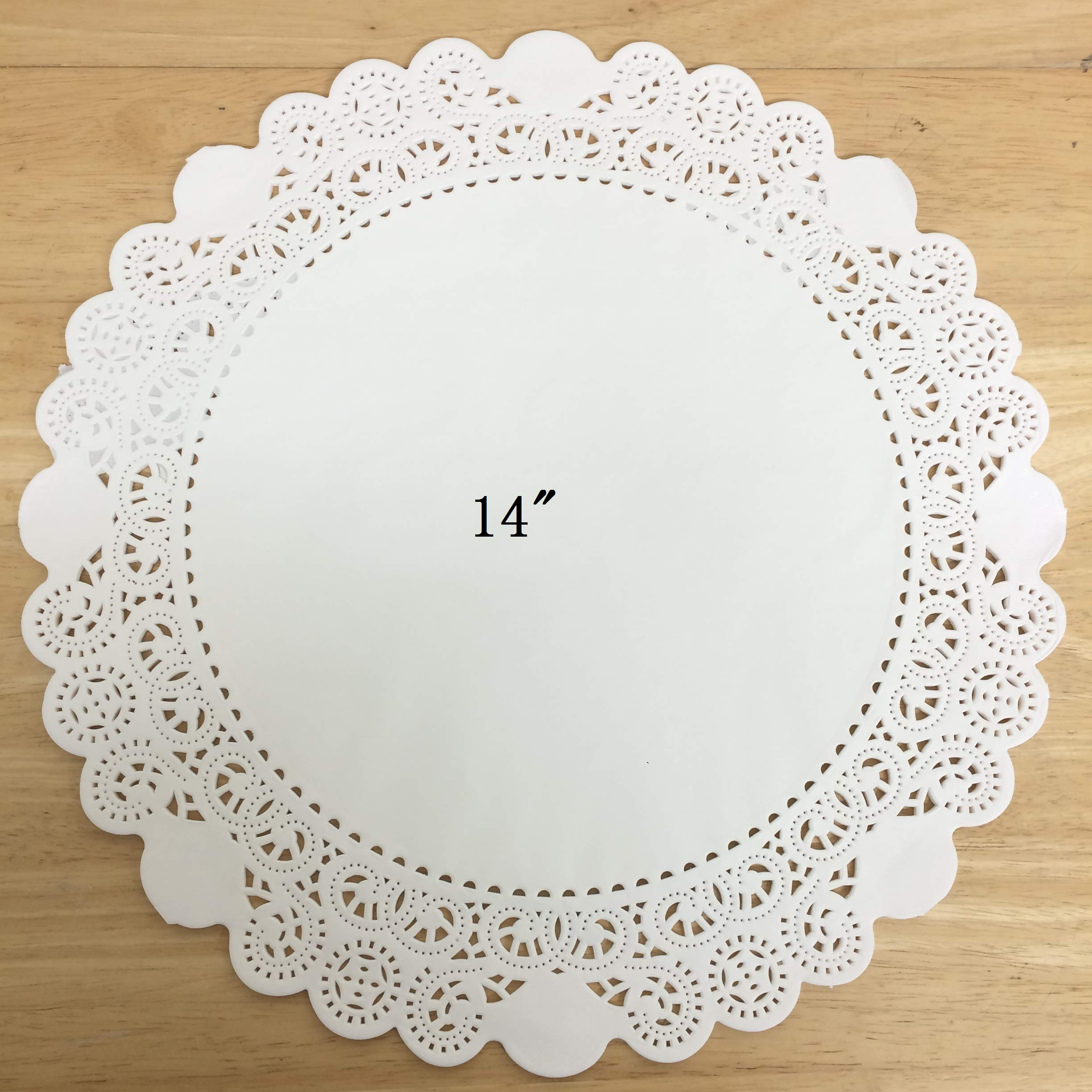 PEPPERLONELY 25 PC White Round Greaseproof Paper Doilies, 14 Inch
