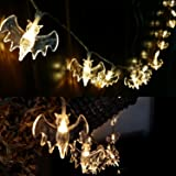 Bats String Lights,Halloween Bat Lights,Battery Operated 20 LED Fairy String Light,LED Night Light for Halloween Cosplay,Party Patio Decorations,2M/6.56 Ft,Warm White