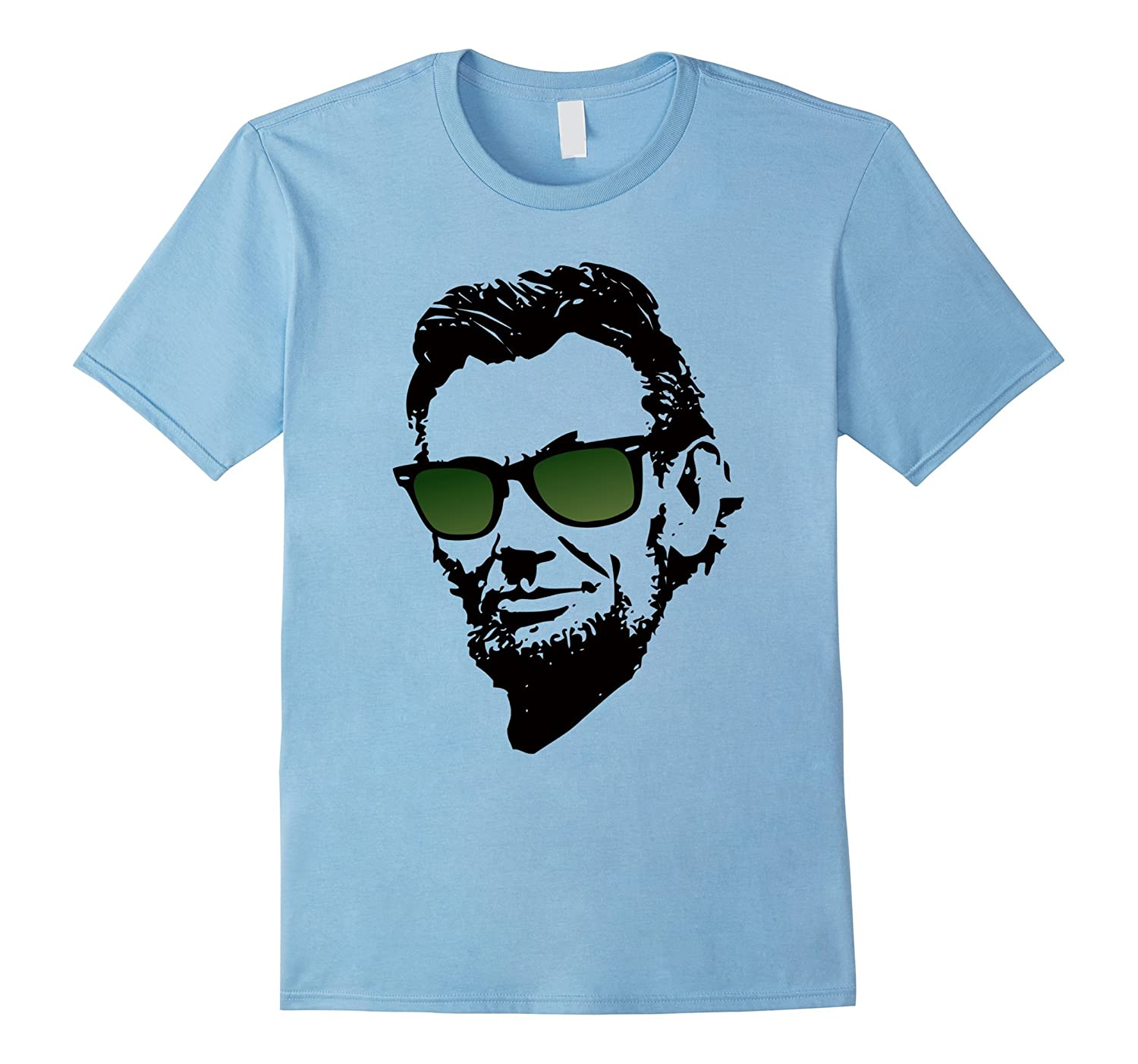 Abe Lincoln in Green Wayfarer Awesome and Cool T-Shirts-TH