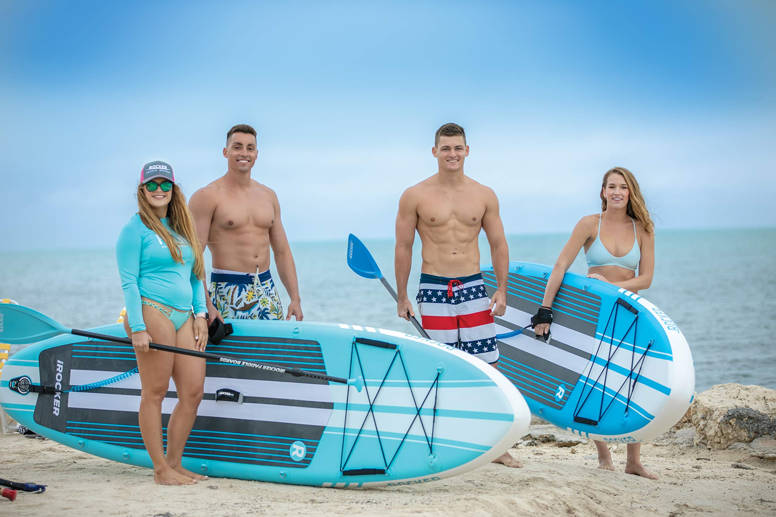 iROCKER All-Around Inflatable Stand Up Paddle Board 11' Long 32'' Wide 6'' Thick SUP Package (Blue 2019) by iROCKER (Image #7)