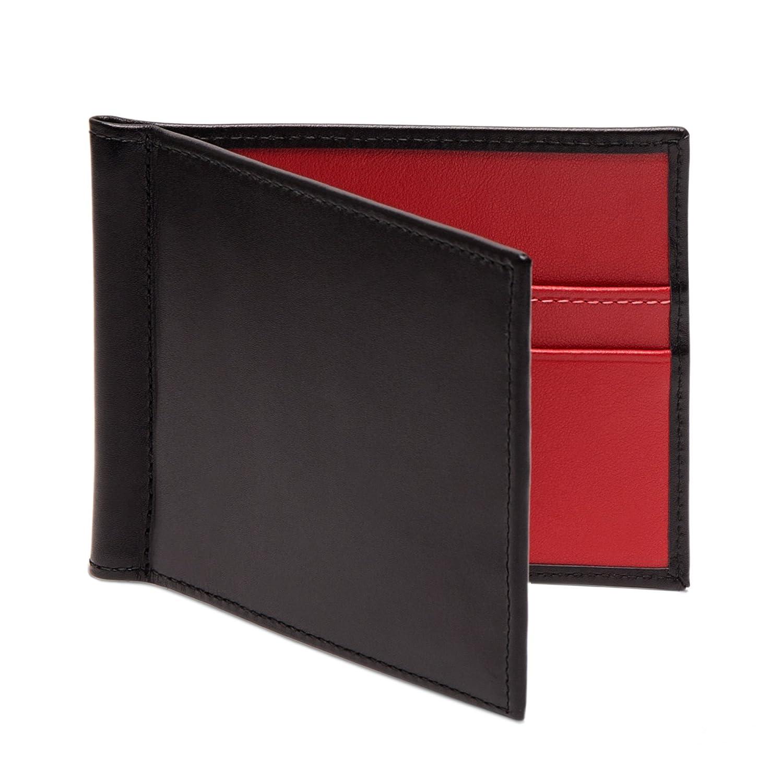 ETTINGER / エッティンガー スターリングレザー マネークリップウォレット 二つ折り財布 ブラック/レッド B00P9L560E