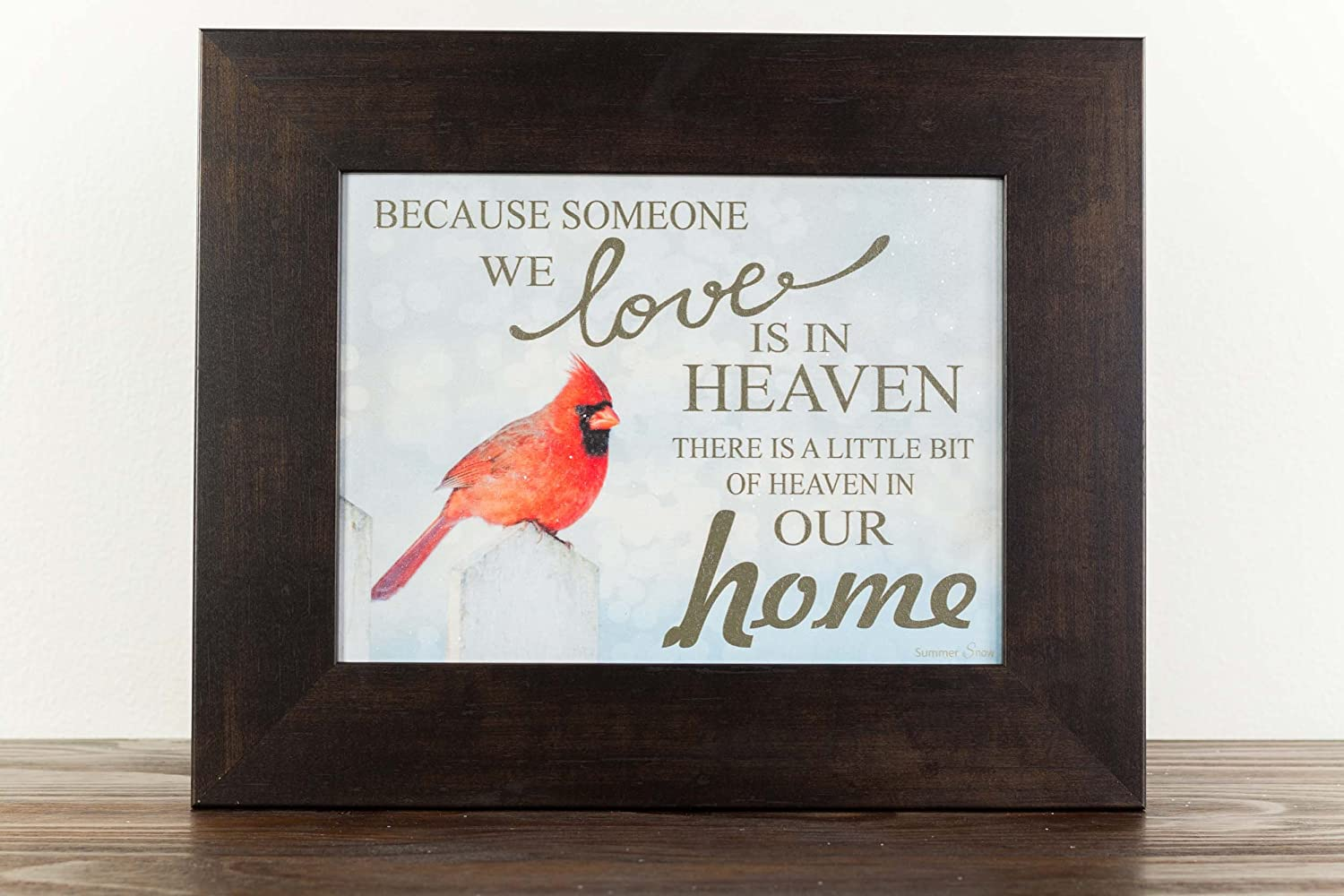 "Because Someone You Love Is In Heaven Home Red Cardinal Religious Framed Art Decor 13x16"" (Espresso Frame)"