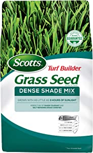 Scotts Turf Builder Grass Seed Dense Shade Mix - 3 lb - Grows in as Little as 3 Hours of Sunlight, Mix of Shade-Tolerant and Self-Repairing Grass Varieties, Seeds up to 750 sq. ft.