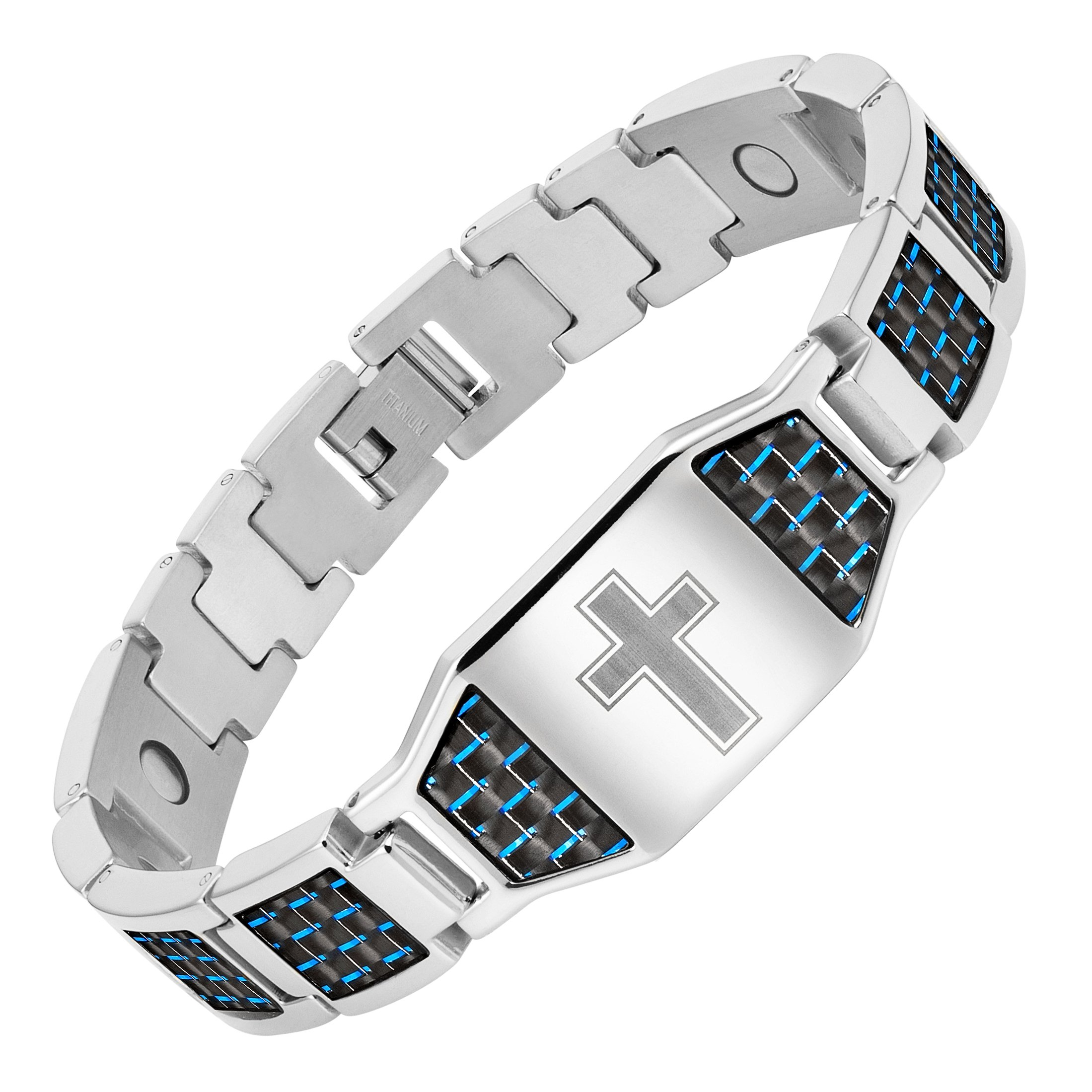 Men's Christian Cross Titanium Magnetic Bracelet with Blue Carbon Fiber by Willis Judd by Willis Judd (Image #1)