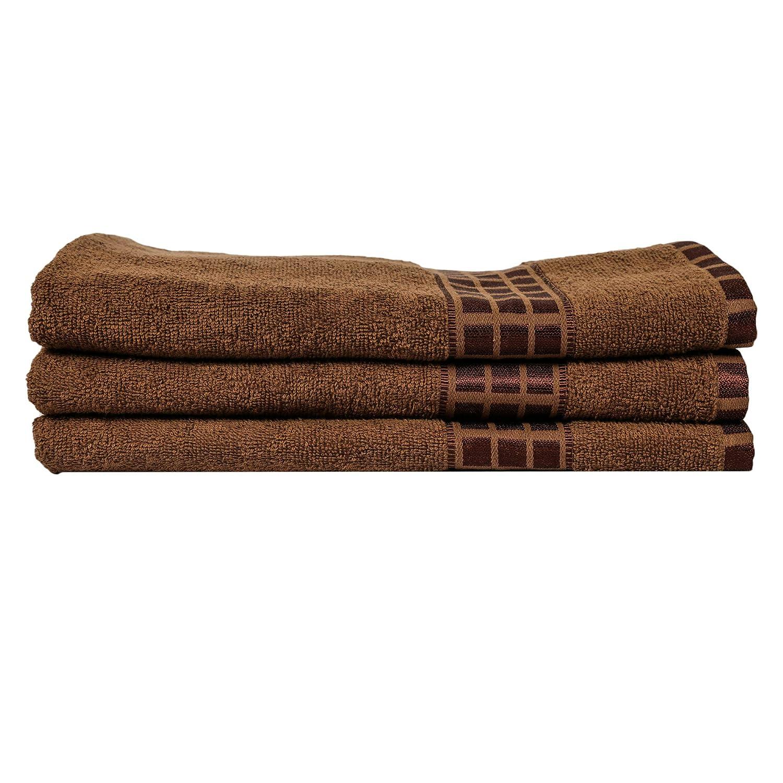 Eurospa Set of 3 Cotton Bath Towel Brown