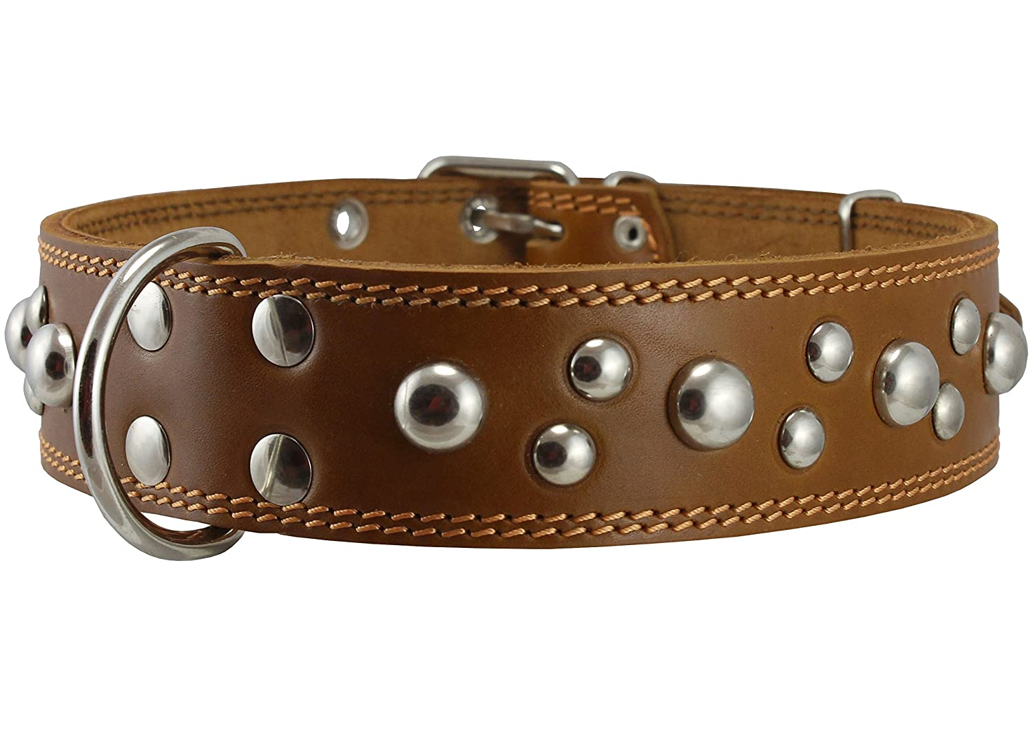 Genuine 1.75 Wide Thick Leather Studded Dog Collar Tan. Fits 21.5-26 Neck XLarge Breeds Newfoundland