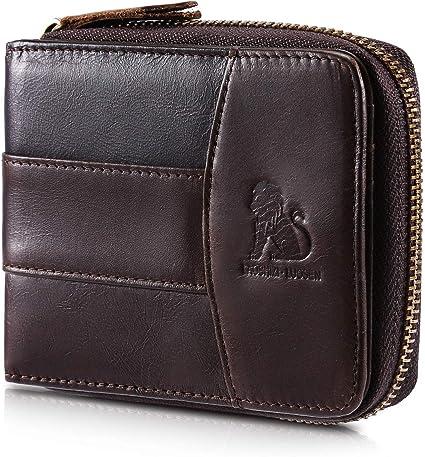 Vintage Genuine Leather Mens Bifold Wallet RFID Zip Around Zipper Coin Purse US