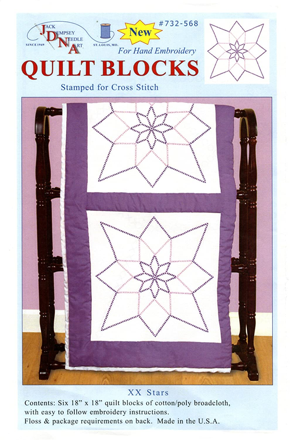 Jack Dempsey Stamped White Quilt Blocks, 18-Inch by 18-Inch, XX Star, 6-Pack 732 568