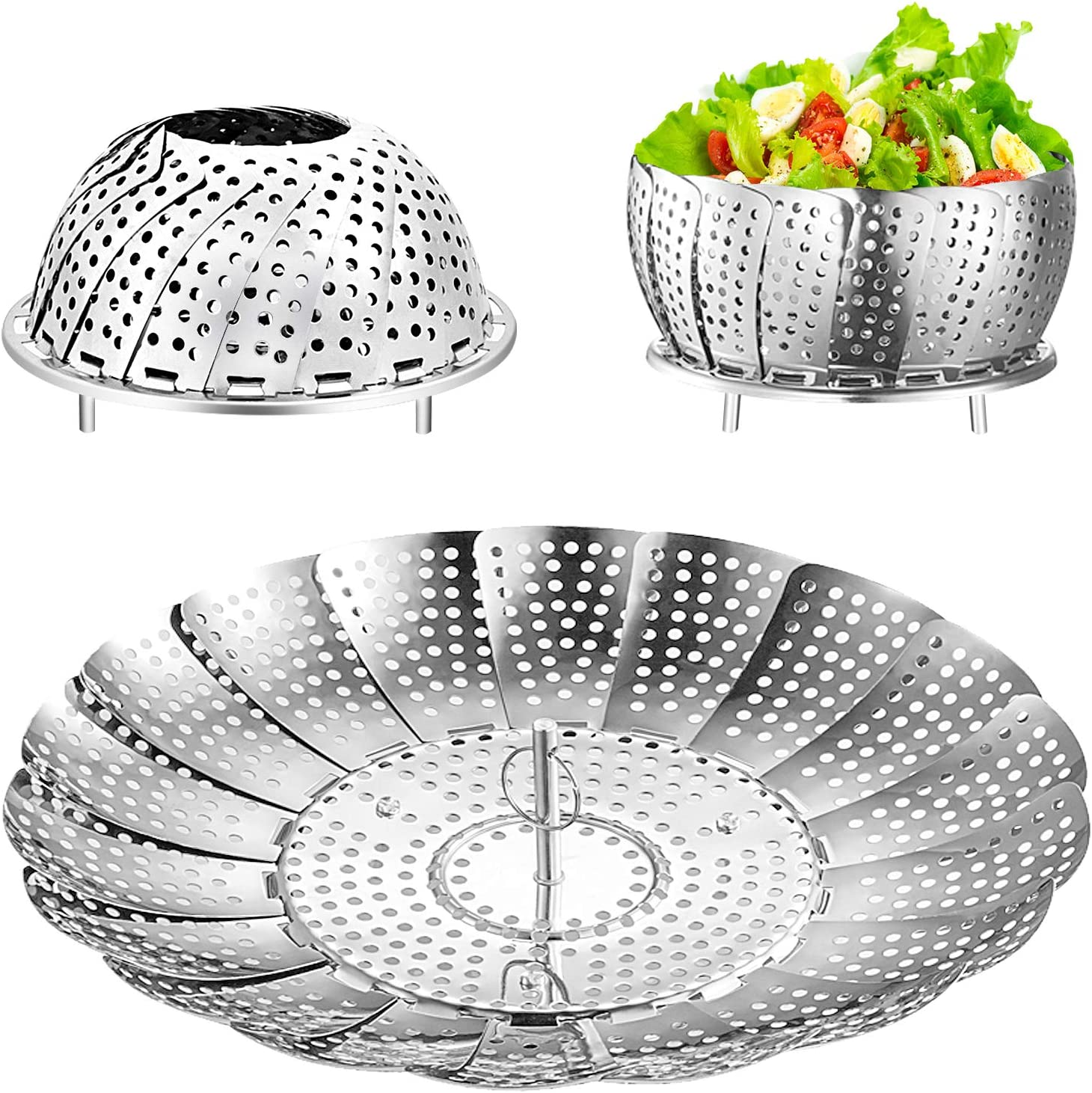 Steamer Basket, GOOGEEK Vegetable Steamer Basket, Folding Stainless Steel Food Steamer for Instant Pot, Steamer Baskets for Cooking Veggie Fish Seafood, Expandable to Fit Various Size Pot (5
