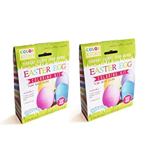 ColorKitchen Easter Egg Coloring Kit (2 Pack) - Plant-based, Naturally Colorful Dye Kit, Contains Yellow/Orange, Blue and Purple Dyes